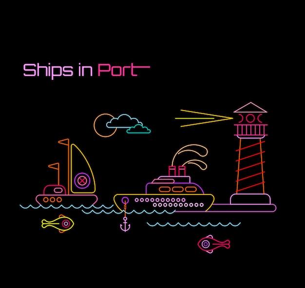 Ilustración de naves en puerto