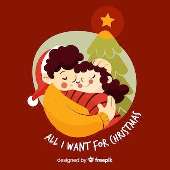 Ilustración navidad abrazo sincero