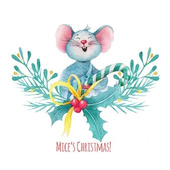 Ilustración de navidad acuarela de lindo ratón con decoraciones de bayas de acebo