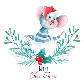 Ilustración de navidad acuarela de ratón de dibujos animados y elementos de decoración