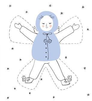 Ilustración de navidad con angel