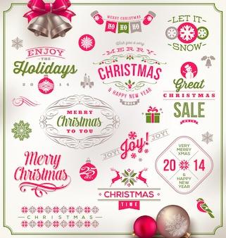 Ilustración de navidad - conjunto de carteles de vacaciones, emblemas y saludos.