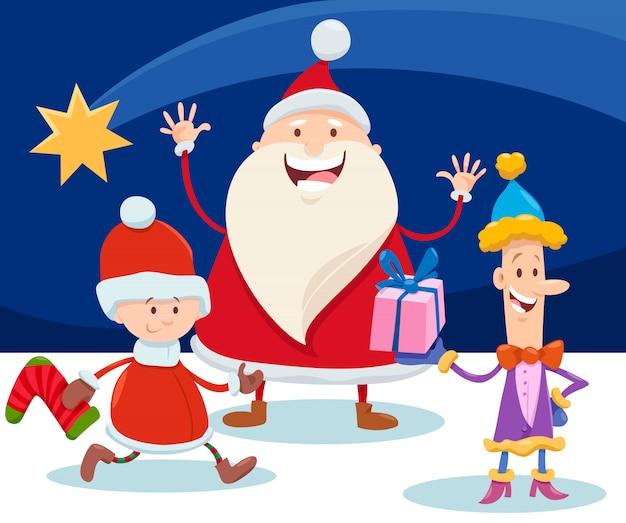 Ilustración de navidad con dibujos animados santa claus y estrella
