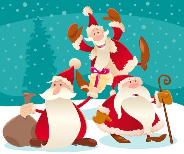 Ilustración de navidad con dibujos animados santa claus y nieve