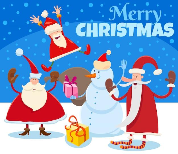 Ilustración de navidad con dibujos animados de santa claus y regalos