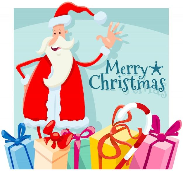 Ilustración de navidad con dibujos animados de santa claus