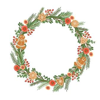 Ilustración de navidad y feliz año nuevo con corona de navidad. plantilla de diseño vectorial.