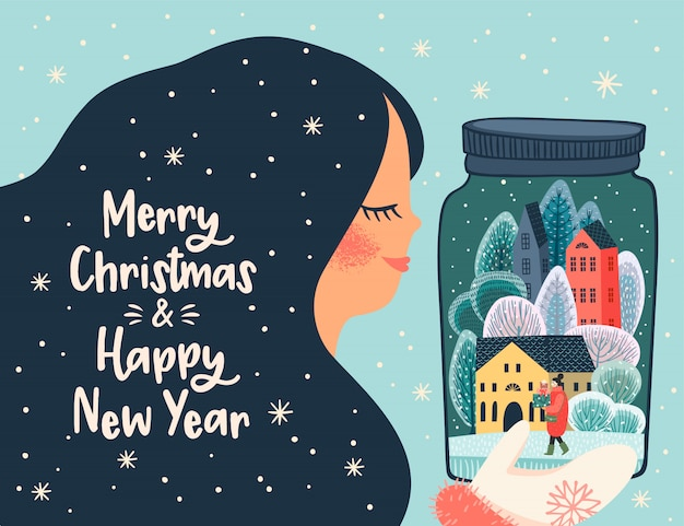 Ilustración de navidad y feliz año nuevo con linda mujer.
