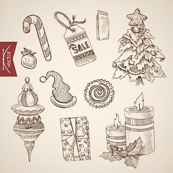 Ilustración de navidad grabada