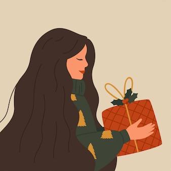 Ilustración de navidad de una mujer feliz con un suéter caliente tiene una caja de regalo roja