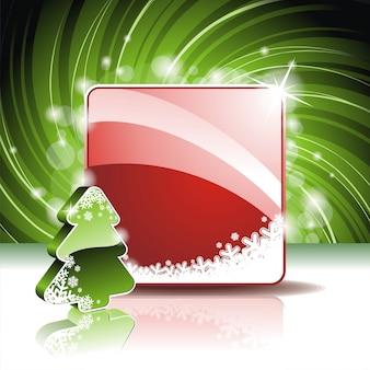 Ilustración de navidad con pinetree 3d sobre fondo rojo
