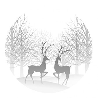 Ilustración navideña con bosque y reno.