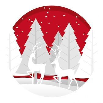 Ilustración navideña con bosque y renos.