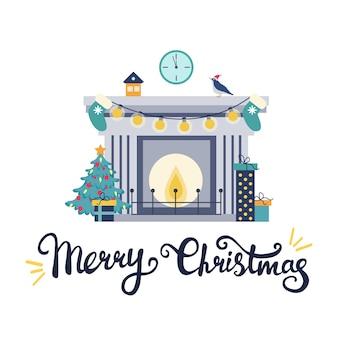 Ilustración navideña con chimenea y árbol con regalos.