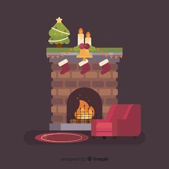 Ilustración navideña chimenea simple