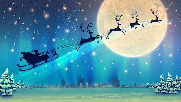 Ilustración navideña con equipo de renos y santa claus sobre la luna