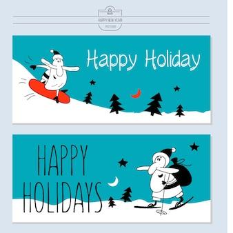 Ilustración navideña con santa claus