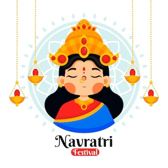 Ilustración de navratri con diosa
