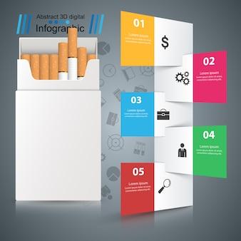 Ilustración de negocio de un cigarrillo y daño