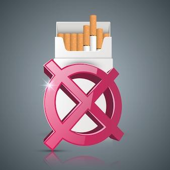 Ilustración de negocio de un cigarrillo y daño.
