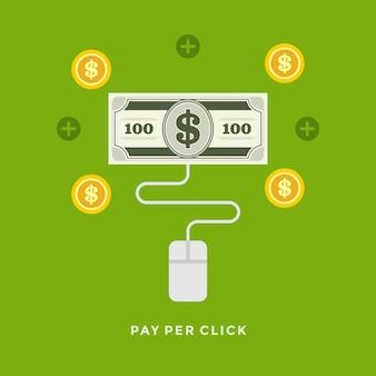 Ilustración de negocio de diseño plano vector pago por clic en compras en línea
