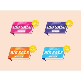 Ilustración negocio gran venta tienda descuento cartel promoción signo vector gráfico colorido pegatina