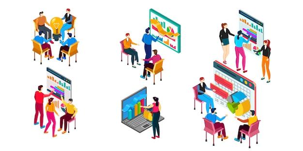 Ilustración de negocio isométrica. la gente del grupo trabaja en nuevos proyectos diferentes.