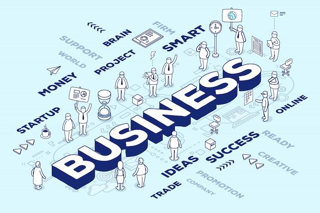 Ilustración del negocio de la palabra tridimensional con personas y etiquetas sobre fondo azul con esquema.
