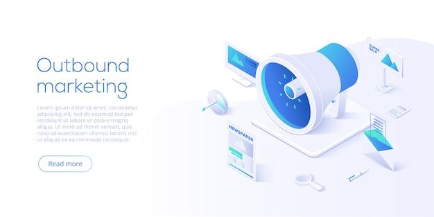 Ilustración de negocio de vector de marketing saliente