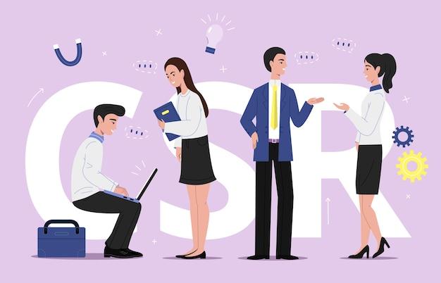 Ilustración de negocios corporativos scr