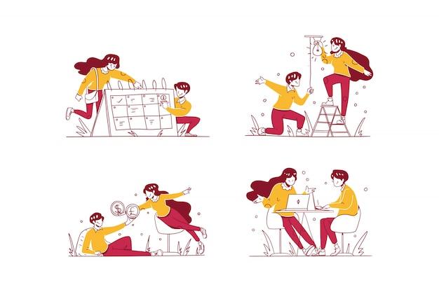 Ilustración de negocios y finanzas estilo de diseño dibujado a mano, programación de hombre y mujer con calendario, tener alguna idea, cambio de dinero, discusión de la reunión