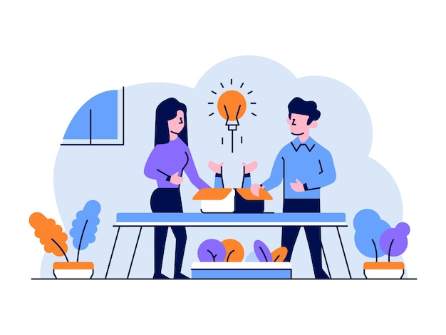 Ilustración negocios finanzas hombre mujer discusión