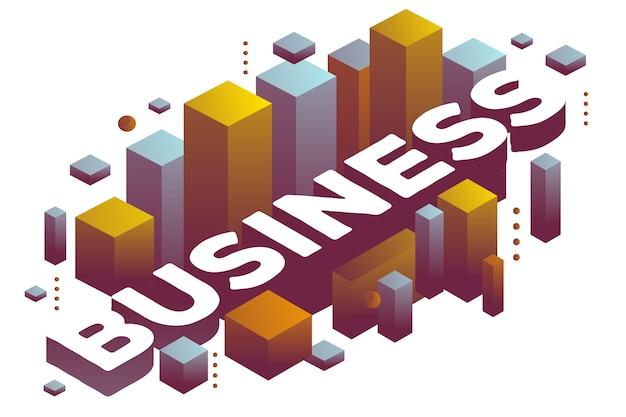 Ilustración de negocios de palabras tridimensionales con formas abstractas de colores