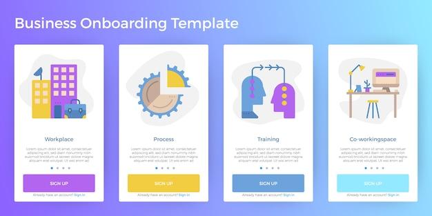 Ilustración de negocios, pantalla móvil, aplicación, onboarding