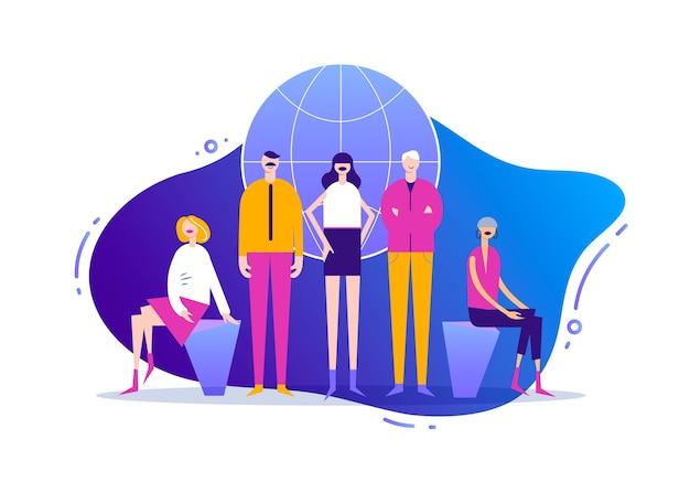 Ilustración de negocios, personajes estilizados. gestión global de proyectos, comunicación empresarial, flujo de trabajo y consultoría. equipo creativo, hombres y mujeres