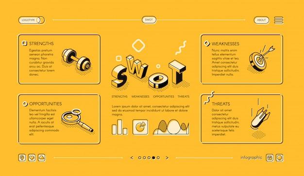 Ilustración de negocios de swot analysis en diseño de líneas finas isométricas en medios tonos amarillos