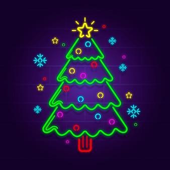 Ilustración de neón del árbol de navidad