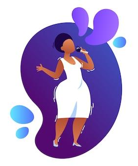 Ilustración de neón de dibujos animados de jazz africano femenino, cantante de soul con micrófono en vestido blanco.