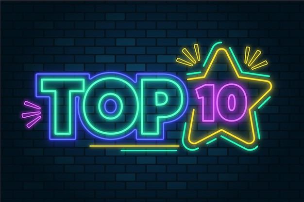 Ilustración de neón top ten