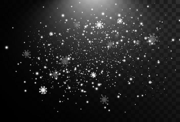 Ilustración de nieve volando sobre un fondo transparente fenómeno natural de nevadas o ventiscas.