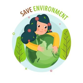 Ilustración de una niña abrazando un globo terráqueo con árboles verdes sobre fondo blanco para guardar el concepto de medio ambiente.