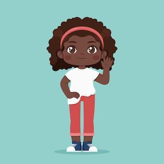 Ilustración de niña afroamericana de dibujos animados
