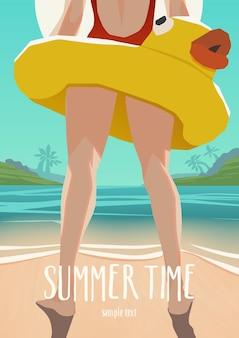 Ilustración de niña con anillo inflable de pie en la playa soleada. cartel de verano