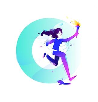 Ilustración de una niña con una antorcha
