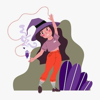 Ilustración de niña bruja con poción mágica