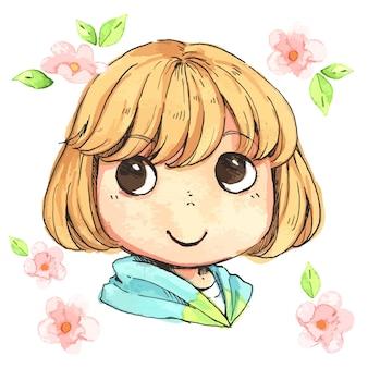 Ilustración de una niña de cabello dorado