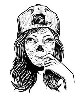 Ilustración de una niña calavera en blanco y negro con gorra en la cabeza