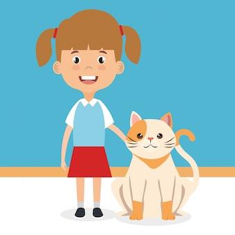 Ilustración de niña con carácter de gato