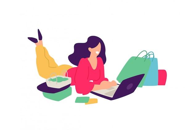 Ilustración de una niña con las compras.