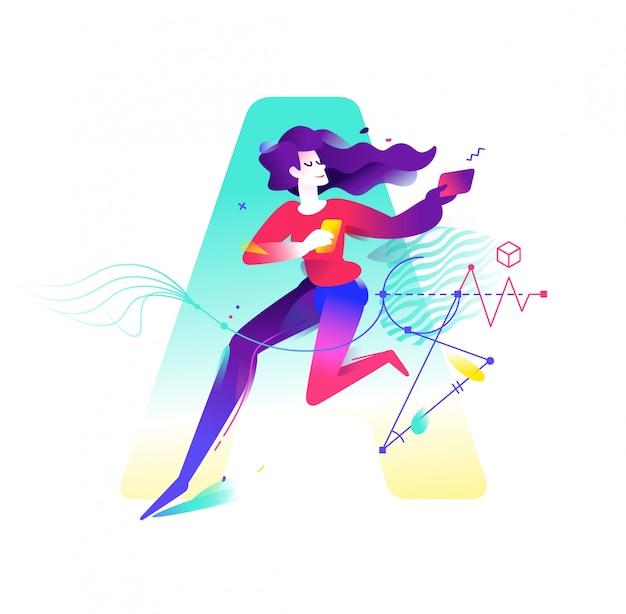 Ilustración de una niña con dispositivos móviles en un fondo de letras a.